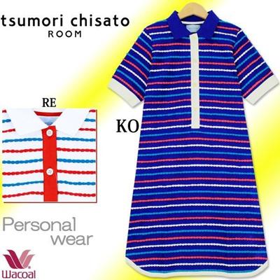 ツモリチサト tsumori chisato ワコール スカラップ タックボーダー 襟付き5分袖ワンピース ULP373の画像
