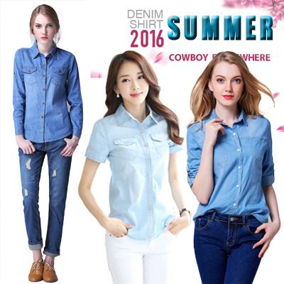 【デニムシャツ】2016 夏 最新ファッション シャツ?レディースシャツ?レディーストップス?女性のシャツ 綿 シャツ WCS1601