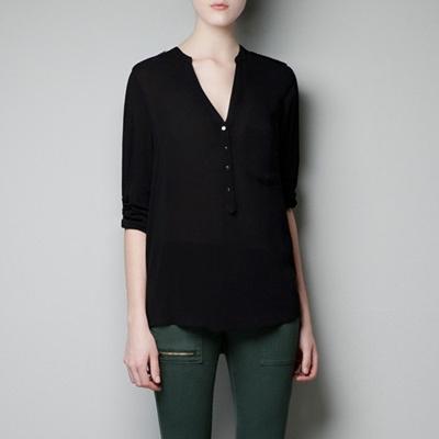 【ZAKZAK・国内発送】人気新品レディーファッション vネックシャツ 7分袖トップスタンドスブラウス シフォンブラウス#5481#の画像