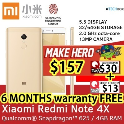 [MAKE $157!] Xiaomi Redmi Note 4X 5.5-Inch | 4GB RAM+64GB | 6 Months warranty FREE!!! | READY STOCKS Deals for only S$499 instead of S$0