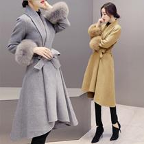 2016新品コート Aラインコート ファー 袖ファー ウエストリボン 大きいサイズ ワンピース 型 上品 アウター プラスサイズ