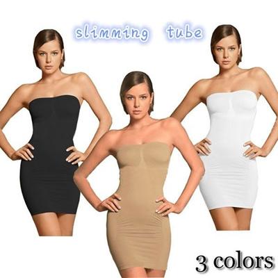 高品質のウエスト&ボトムのドレス着るだけでしっかりスリミング【送料無料】slimming tube ストラップレス/ボディシェイプスリップ/補正下着/インナーの画像