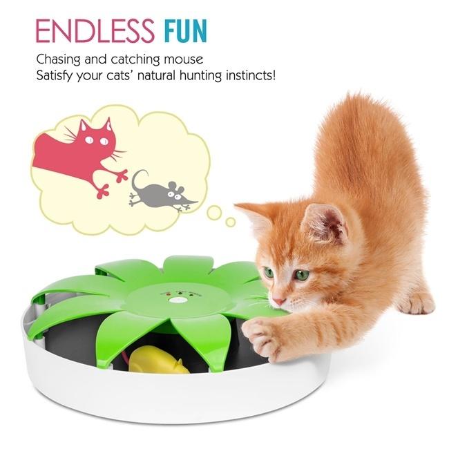 猫おもちゃ Pawaboo 電動式 マグネットネズミを捕らえる 隠す 追う  猫おもちゃ ネコ遊び 運動
