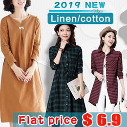 2019 Autumn style new products / folk style long sleeved skirt.plus size/linen/cotton.