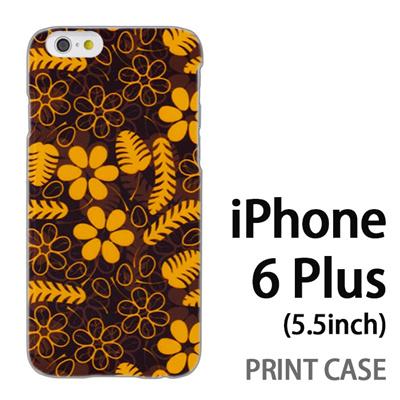 iPhone6 Plus (5.5インチ) 用『1101 羽と花と葉 黒』特殊印刷ケース【 iphone6 plus iphone アイフォン アイフォン6 プラス au docomo softbank Apple ケース プリント カバー スマホケース スマホカバー 】の画像