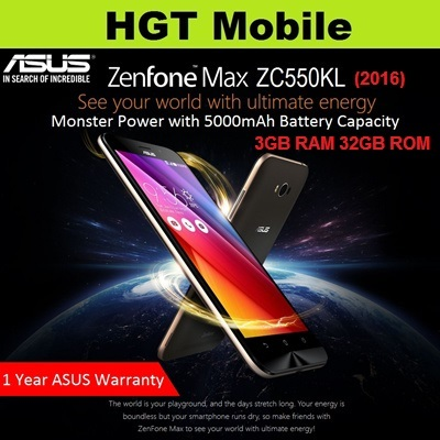 ASUS ZenFone Max ZC550KL 2016 4G Dual SIM*5.5 Inch Display*13MP Main and 5MP Front Cam*Android Marshmallow*3GB RAM 32GB ROM*5000mAh battery*1 Year ASUS Singapore Warranty Deals for only S$299 instead of S$299