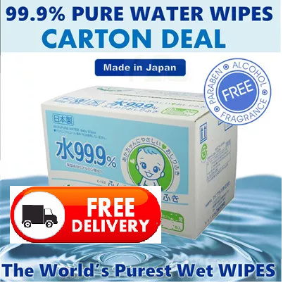 ?Carton Deal-FREE DELIVERY LEC 99.9% Pure Water Wipes Baby Wet Wipes Deals for only S$72 instead of S$0