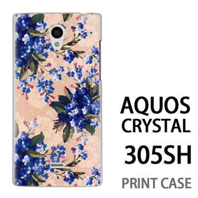 AQUOS CRYSTAL 305SH 用『0310 小さな花 白』特殊印刷ケース【 aquos crystal 305sh アクオス クリスタル アクオスクリスタル softbank ケース プリント カバー スマホケース スマホカバー 】の画像