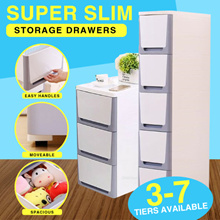 Super Slim Plastic Storage Drawer Container 3-7 Tiers Design Effective Use of all Available Space