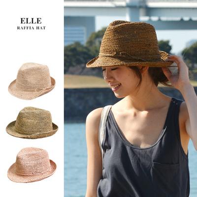 ラフィアハット 帽子 中折れハット ELLE RFH-021の画像