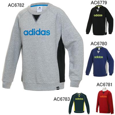 アディダス (adidas) KIDS TCOS SPORTS  CLIMALITE フロッキープリントビッグロゴ クルースウェット BBQ56 [分類:スウエットシャツ・トレーナー (ジュニア)]の画像