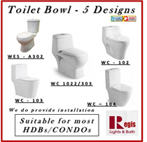[REGIS] Toilet bowl Model: WC-1022/303/102/103/104 One Piece WC [Suitable for most HBD CONDOS]