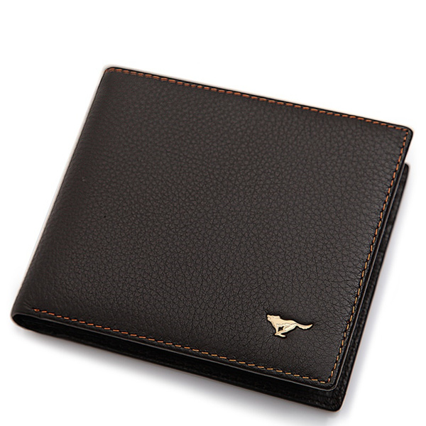 [Singapore Seller] Wolves Premium Quality Men Compact Folded Leather Wallet. Good Leather Quality.