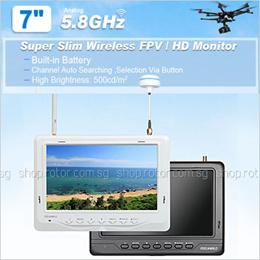 FEELWORLD 7 INCH BLACK FPV HD Moniter Dual 32 Channel 5.8GHz Diversity Receivers 1024*600 pixel High Brightness 500cd/m2 Super Slim/light weight compatible w/DJI ImmersionRC and Fatshark