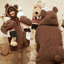 秋冬新品!超可愛いフード付け/耳付けコート/ジャケット/ふわふわで冬に暖かい!スタイル200%up!!必須アイテム!