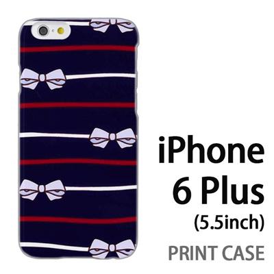 iPhone6 Plus (5.5インチ) 用『1103 リボンストライプ 紺』特殊印刷ケース【 iphone6 plus iphone アイフォン アイフォン6 プラス au docomo softbank Apple ケース プリント カバー スマホケース スマホカバー 】の画像