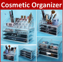 AS*Acrylic Makeup Box Organizer Make Up Beauty Transparent Jewelry Brush Lipstick Holder Cosmetic Jewelry Storage Case Drawers Cabinet Organization Organiser