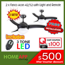 2 SETS FANCO Acon 42 / 52 inch Ceiling Fan Buddy bundle. Includes 3 colour LED light + Installation