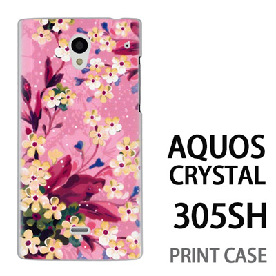 AQUOS CRYSTAL 305SH 用『0310 水中の花 ピンク』特殊印刷ケース【 aquos crystal 305sh アクオス クリスタル アクオスクリスタル softbank ケース プリント カバー スマホケース スマホカバー 】の画像
