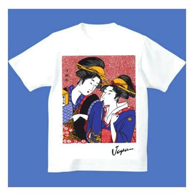 FJK日本お土産Tシャツ浮世絵(ホワイト)No.18