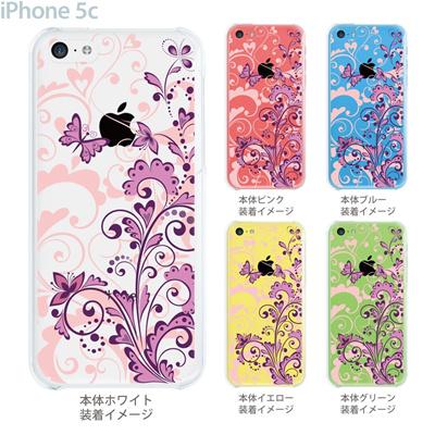 【iPhone5c】【iPhone5cケース】【iPhone5cカバー】【ケース】【カバー】【スマホケース】【クリアケース】【フラワー】【花と蝶】 22-ip5cp-ca0077の画像
