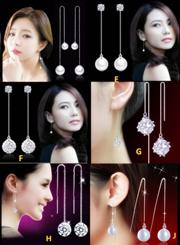 925 SILVER Korea FASHION Line Design Ladies Luxury/Party/Dinner LONG Earring