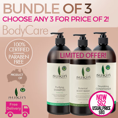 [SPECIAL OFFER! BUY ANY 3 FOR THE PRICE OF 2] SUKIN BODY WASH | SHAMPOO | CONDITIONER 1 LITRE Deals for only S$93 instead of S$0