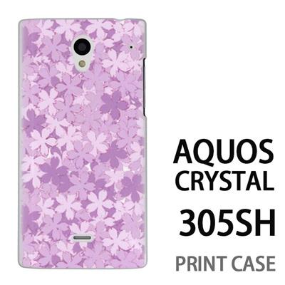 AQUOS CRYSTAL 305SH 用『0311 桜模様 紫』特殊印刷ケース【 aquos crystal 305sh アクオス クリスタル アクオスクリスタル softbank ケース プリント カバー スマホケース スマホカバー 】の画像