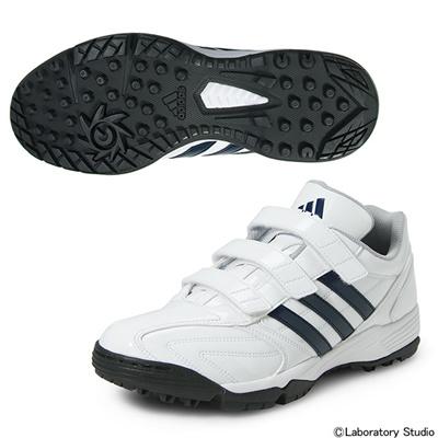 アディダス (adidas) adipure トレーナー(ランニングホワイト×カレッジネイビー×カレッジネイビー) C76618 [分類:野球 トレーニングシューズ]の画像