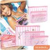 Waterproof Pink Stripes 3 Pieces Pouches Set Essential Women Organiser Travel/ Cosmetics Pouch Bagsmakeup pouch wallet card holder bag multi purpose organizer
