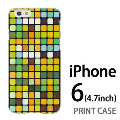iPhone6 (4.7インチ) 用『No3 モザイク 黄緑』特殊印刷ケース【 iphone6 iphone アイフォン アイフォン6 au docomo softbank Apple ケース プリント カバー スマホケース スマホカバー 】の画像