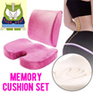 Set SALE▶Magic Memory Foam (Back Supporter + Sitting Mat) Cushions for Beauty Body & Healthcare◀GDA-Feel Comfort n Correct Posture-Unisex