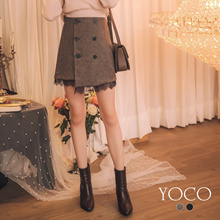 YOCO - Stitching Lace-breasted Asymmetrical Skirt-182223-Winter