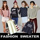 Sj136★[buy 2 free shipping]New Korean sweater★Lady sport sweater loose coat  sweater  Korean sweater thin sweater V collar loose women sweater LACE printing round neck sweater T-Shirt