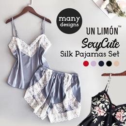 ⭐ New Arrival⭐  UNLIMON Silk Pajamas For Women Satin Sexy Cute Sleepwear Sets Comfortable Nightdress