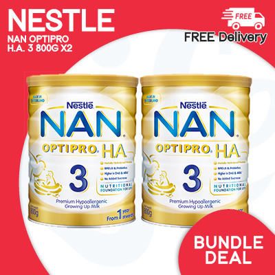 [NESTLE] ?TWINPACK NAN MILK POWDER?OPTIPRO H.A. 3 Growing Up Milk 800g X2! Deals for only S$97.2 instead of S$0