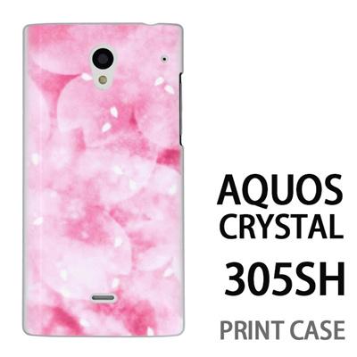 AQUOS CRYSTAL 305SH 用『0312 かすみ桜 ピンク』特殊印刷ケース【 aquos crystal 305sh アクオス クリスタル アクオスクリスタル softbank ケース プリント カバー スマホケース スマホカバー 】の画像