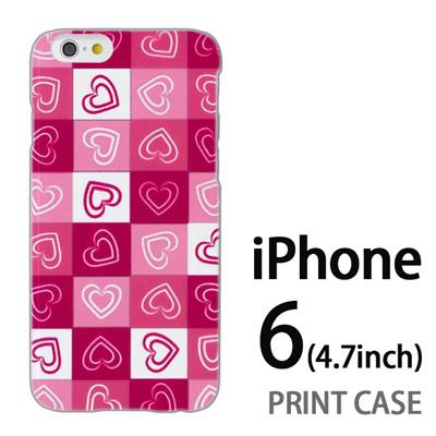 iPhone6 (4.7インチ) 用『No3 モザイクハート ピンク』特殊印刷ケース【 iphone6 iphone アイフォン アイフォン6 au docomo softbank Apple ケース プリント カバー スマホケース スマホカバー 】の画像