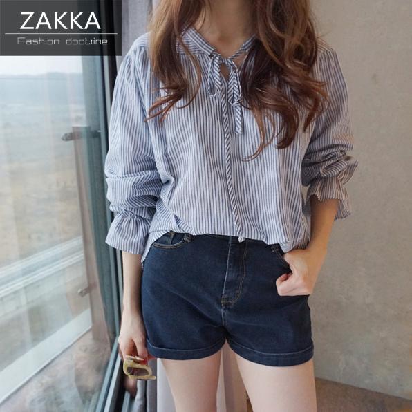 【送料無料】【即納】 人気 新型 ZAKKA 2016 韓国ファッション パフスリーブシャツ ワンピース ショートシャツ ロングシャツ 長袖シャツ 韓国 シャツ レディース