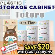 Totoro PLASTIC STORAGE CABINET/Storage Box/DRAWER WITH WHEELS /cartoon 3-7Tier