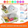[HOME ORGANIZATION] DOUBLE LAYERED DRYING DISH RACK KITCHEN USE DRY YOUR DISHES
