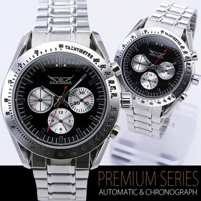 全針稼動の本格仕様 バイカラー自動巻き クロノグラフ腕時計 【BOX・保証書付き】の画像