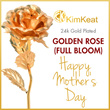 24K / 999.9 Plated Gold Rose Full Bloom Flower/ Mothers Day / Perfect Ideal Gift / Souvenir / Premium / Present / Birthday / Special Loved Ones