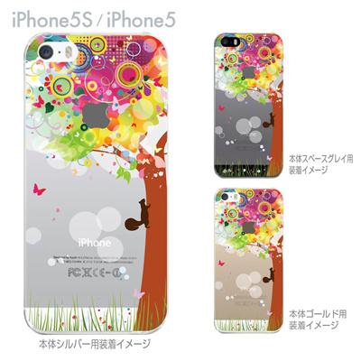【iPhone5S】【iPhone5】【iPhone5sケース】【iPhone5ケース】【カバー】【スマホケース】【クリアケース】【フラワー】【花とリス】 22-ip5s-ca0089の画像