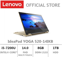 Lenovo|IdeaPad YOGA 520|14.0 FHD| i5-7200U/i7-7500U|Gold|2 Year Local Warranty