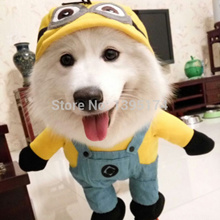 Funny Minions Dog Clothes Halloween Pet Costume Suit Cartoon Puppy Cat Coat Jacket Despicable Me 2 S