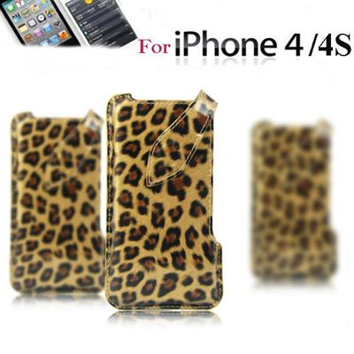 ☆iphone4 4S対応 スマートフォン ケース♪iphone カバー 【即納商品】【メール便送料無料】iPhone4S ケース 豹柄 (アイフォン4 4S専用) Leopard case 本牛革の画像