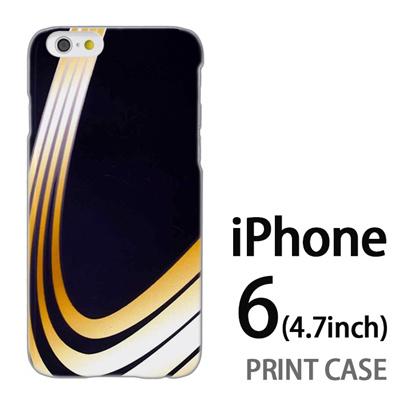 iPhone6 (4.7インチ) 用『No3 黄色曲線4本』特殊印刷ケース【 iphone6 iphone アイフォン アイフォン6 au docomo softbank Apple ケース プリント カバー スマホケース スマホカバー 】の画像