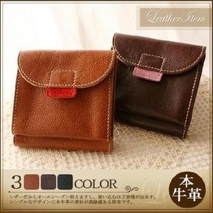 本革二つ折り財布レザー二つ折りさいふ財布サイフ wllo-33701★本革二つ折り財布の画像