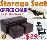 Leather Storage Stool / Office Chair Ergonomic Chair / Storage Box Ottoman Seat Singapore Furniture Sofa Bench Stool for Table etc / Cushion Chair Cabinet Organiser Leg Rest Living Home Household